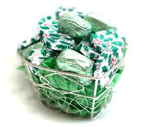 Silver Basket with Minty Chocolates