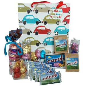 Car design gift bag  containing a selection of carob products