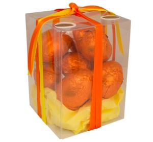 Carob - Box of Orange Hollow  Eggs 160g