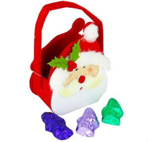 Smiley Santa felt Bag with Carob