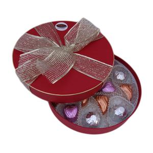 Chocolate Red Bowed Box with Mixed Fondants