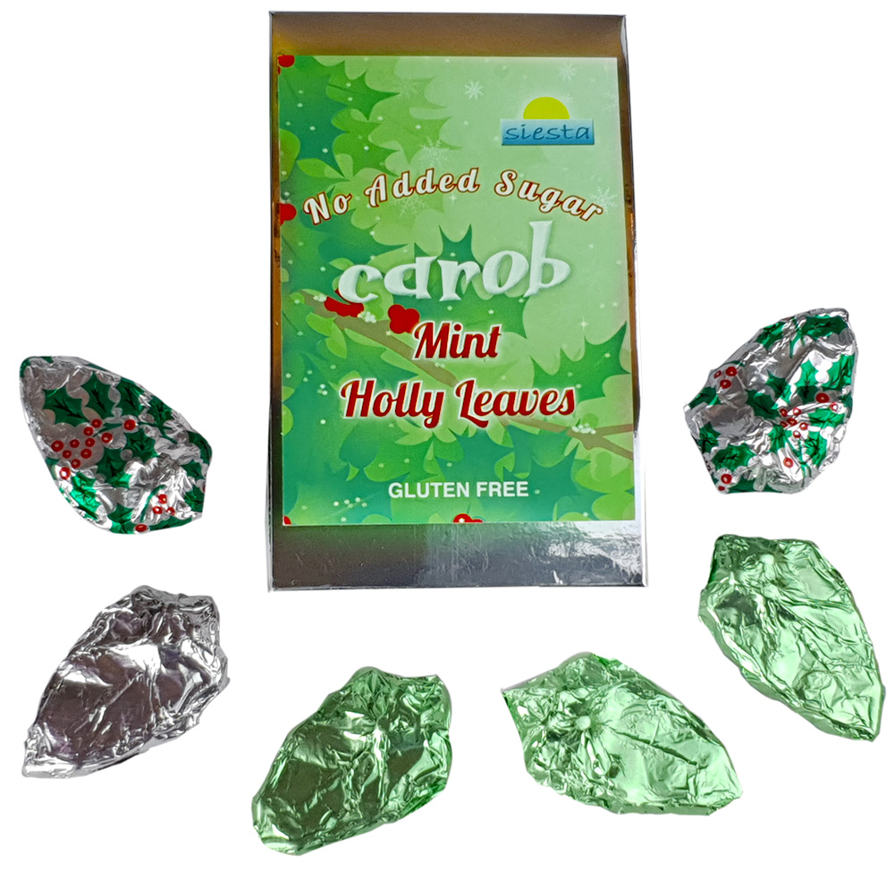 Mint Carob Holly Leaves in decorative box