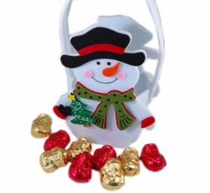 Snowman with Black Hat felt bag with chocolate