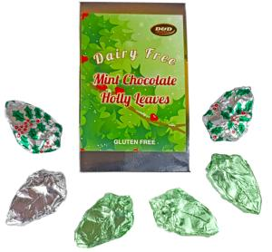 Mint Chocolate Holly Leaves in decorative box 80g