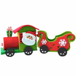Carob felt Santa Sleigh with Christmas Novelty shapes