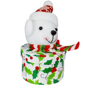 Polar Bear Glitter Hat Holly Box with Carob