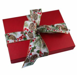 Red Bowed Gift Box with Chocolate Orange Fondants