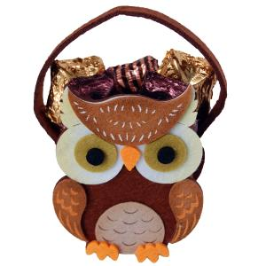 Woodland Owl Felt Basket with Carob