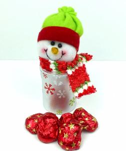 Snowman decorative box with chocolate