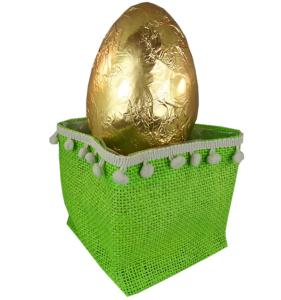 Chocolate - 250g Hollow Egg in green jute basket