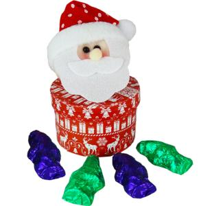 Father Christmas Glittery Hat headed Box  with Chocolate