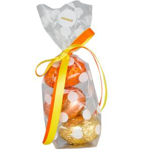 Carob - Pretty bag of 3 Orange Carob 20g Hollow Eggs