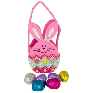 Chocolate - Pink Bunny Basket containing Mini Eggs