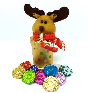 Gold spotted Reindeer Head box with Chocolate