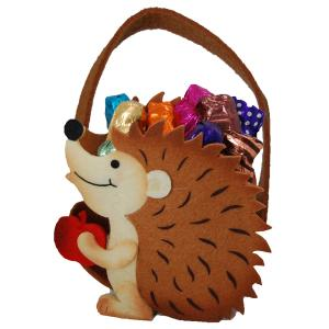 Woodland Hedgehog Felt Basket with Chocolate
