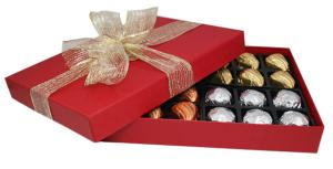 Red Bowed Box with 24 Carob Peppermint Fondants (contain sugar)
