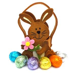 Cute Brown Bunny Basket with Chocolate