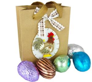 Chocolate  Rooster Gift Bag with 20g Eggs