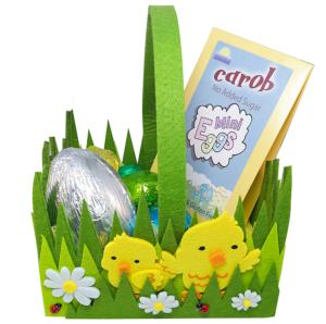 Attractive Felt Chick Basket with Carob Eggs