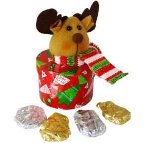 Reindeer lidded box with Chocolate Christmas Shapes