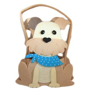 Cute Boy Dog Blue Felt Basket with chocolate
