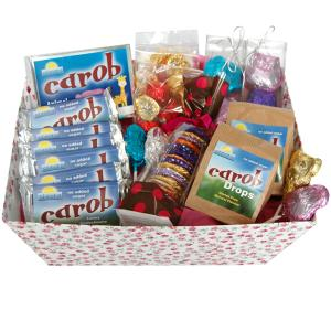 Carob hamper containing large selection of products