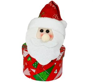 Father Christmas Glitter Hat Holly Box with Carob