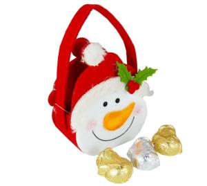 Smiley Snowman felt Bag contains Carob Christmas Shapes