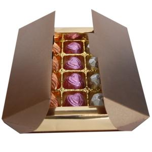 Luxury Bronze Box contains Carob Fondants x 12 (contains sugar)