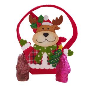 Reindeer felt bag containing 60g Chocolate Shapes