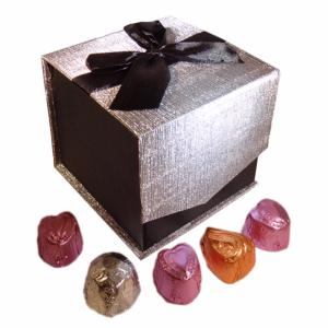 Luxury Silver/Black Magnetic Box with chocolate