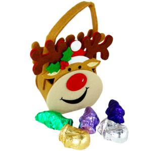 Smiley Reindeer felt bag with Christmas Carob products